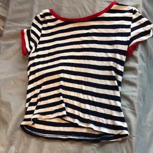A navy, white, and red short basic top